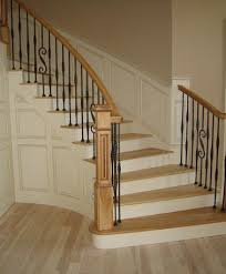 Handrail Banister Curved Oak Staircase With Wrought Iron Railings Diy Paint