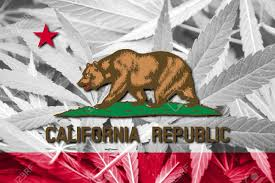 California State Flag California State Flag On Cannabis Background Drug Policy
