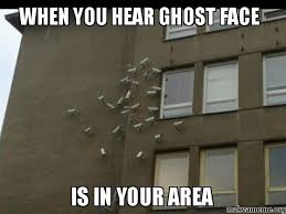 Ghost Meme - when you hear ghost face is in your area make a meme