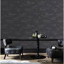 graham and brown concrete script charcoal removable wallpaper
