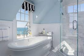 Bathroom Wainscotting Attic Bathroom With Walk In Shower And Freestanding Tub Also