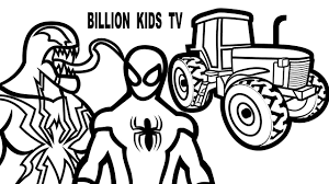 spiderman vs venom and tractor coloring book coloring pages kids