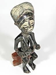 vintage african folk art statue mother fertility carved wood