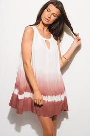 lovely rosely ombre tie dye print cut out shift sun dress