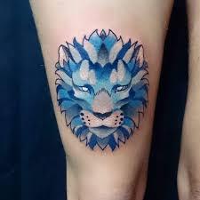 colorful geometric lion tattoo venice tattoo art designs