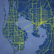 Tampa Bay Florida Map by Tampa Bay Florida Map Art City Prints