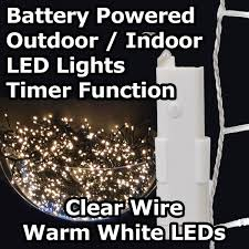 battery operated led lights with timer 24 white led 1 7m battery operated outdoor timer lights on clear