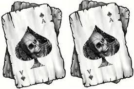 distressed ace of spades skull cards vinyl helmet