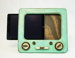 teal wooden tv ipad stand kitchen ipad docking station rustic