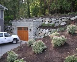hillside garage plans garage built in to hillside houzz