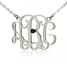 monogram necklace white gold personalized monogram necklace