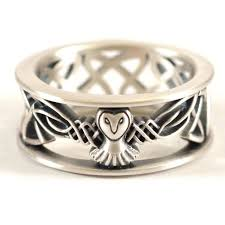 mens celtic rings sterling silver owl wedding band celtic owl ring mens wedding