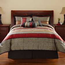 Bedroom Decoration Red And Black Bed U0026 Bedding 7pc Contemporary Comforter Sets King Red And Black