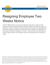 How To Write Resignation Notice 10 Best Images Of Two Week Notice Sample Letter To Employer Two