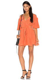 tessora sheer back wrap dress in rust revolve