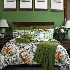 Tropical Bedding Sets Green White And Blue Bird In Tropical Jungle Safari Fresh World