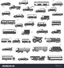 truck car black set black silhouette car bus truck stock vector 518817433