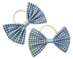 hair bows uk baby blue and white gingham fabric hair bows on thick bobbles
