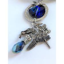 charm leather necklace images Bohemian blue charm leather necklace with swarovski crystal jpg