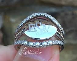 monogrammed silver ring silver monogram ring etsy