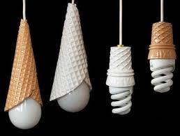 Creative Lighting Fixtures Lights Appliances Cone Shaped Cream Ice Cream Plastic Hanging