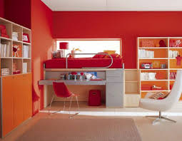 Red And White Bedroom Modern Colorful Kids Bedroom Design With Nice Storage Cabinets And