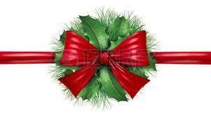 silk bow with pine border and circular ornamental