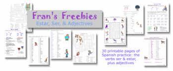 fran u0027s freebies spanish ser estar u0026 adjectives worksheets