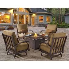 Gas Patio Table Pit Table With Balsam Wicker Patio Furniture Set Gas And