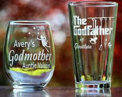 Godmother Wine Glass Custom Engraved Godmother Wine Glass Godfather Beer Glass Set