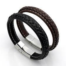 steel leather bracelet images Top quality genuine leather bracelet men stainless steel leather jpg