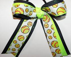 softball hair bows accessories by me