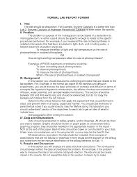 formal lab report template another formal lab report format lab reports science writing