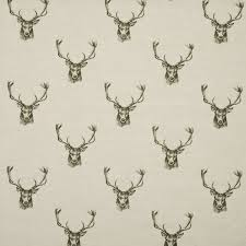 stag head designs stags curtain fabric in charcoal terrys fabrics uk