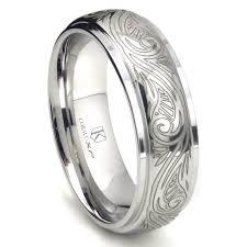 mens wedding bands cobalt cobalt xf chrome 8mm laser engraved paisley motif dome wedding