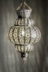 Wohnzimmerlampe Bunt Orientalische Lampe Pendelleuchte Silber Harem 45cm E27