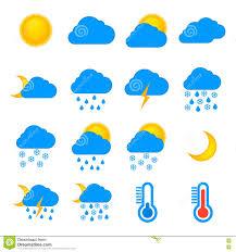 Weather Map Symbols Weather Forecast And Meteorology Symbols Icons Flat Set Stock
