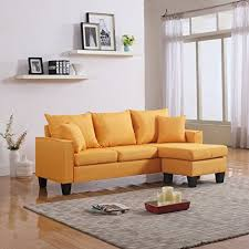 Fabric Modern Sofa Modern Linen Fabric Small Space Sectional Sofa With