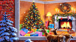 10 hours christmas animation snowfall u0026 fireplace crackling