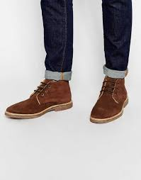 cheap men shoes asos desert boots in brown suede with leather