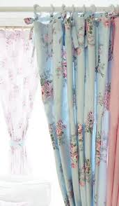Shabby Chic Curtains Cottage Rosa Window Dressing Blue Roses Shabby And