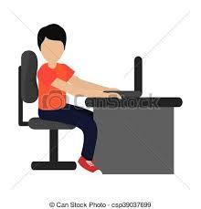 icone bureau portable utilisation homme icône bureau plat ordinateur