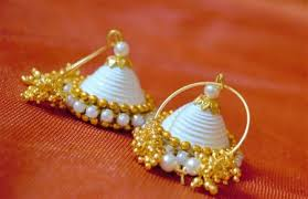 quilling earrings images paper quilled earrings white color jhumkas kala manch