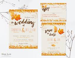 autumn wedding invitations autumn wedding invitation set fall wedding invitations diy