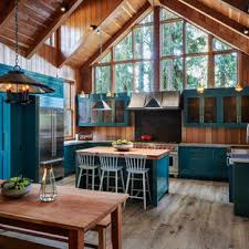 blue kitchen cabinets in cabin 75 beautiful kitchen with blue cabinets and granite