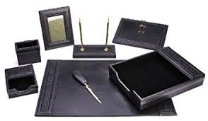 Leather Desk Organizers Majestic Goods Office Supply Leather Desk Set Black