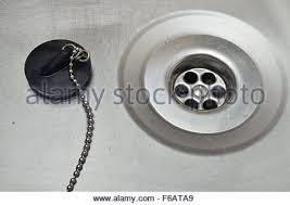 Kitchen Sink Plugs - kitchen sink plug hole stock photo royalty free image 89978407