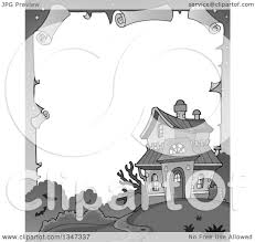 Free Halloween Border by Clipart Of A Grayscale Halloween Parchment Border Of A Haunted