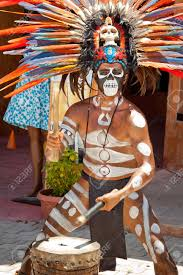 in mayan traditional ornamental feather headdress