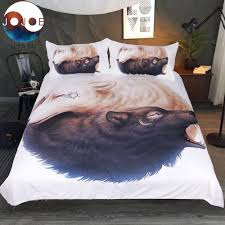 wolf bed set yin and yang wolves white bedding set by jojoesart onlinebeddingshop